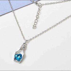 BLUE WINE BOTTLE LOVE ❤️ PENDANT NECKLACE